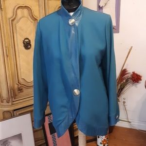 Jacket Wool Coat Turquoise Teal sz 8 B8